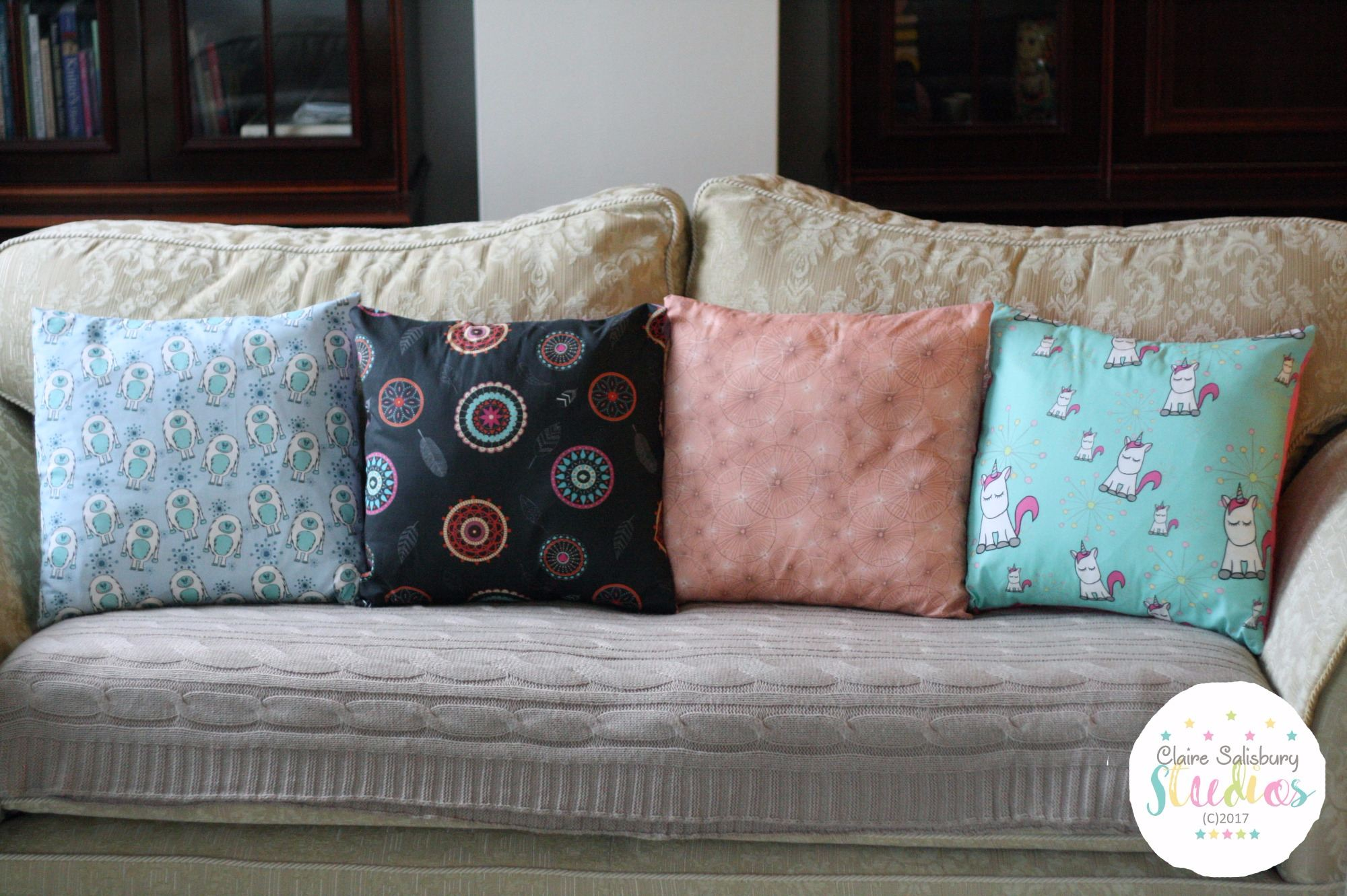Unicorn, Yeti, Dream Catcher and Sea Urchin Cushions