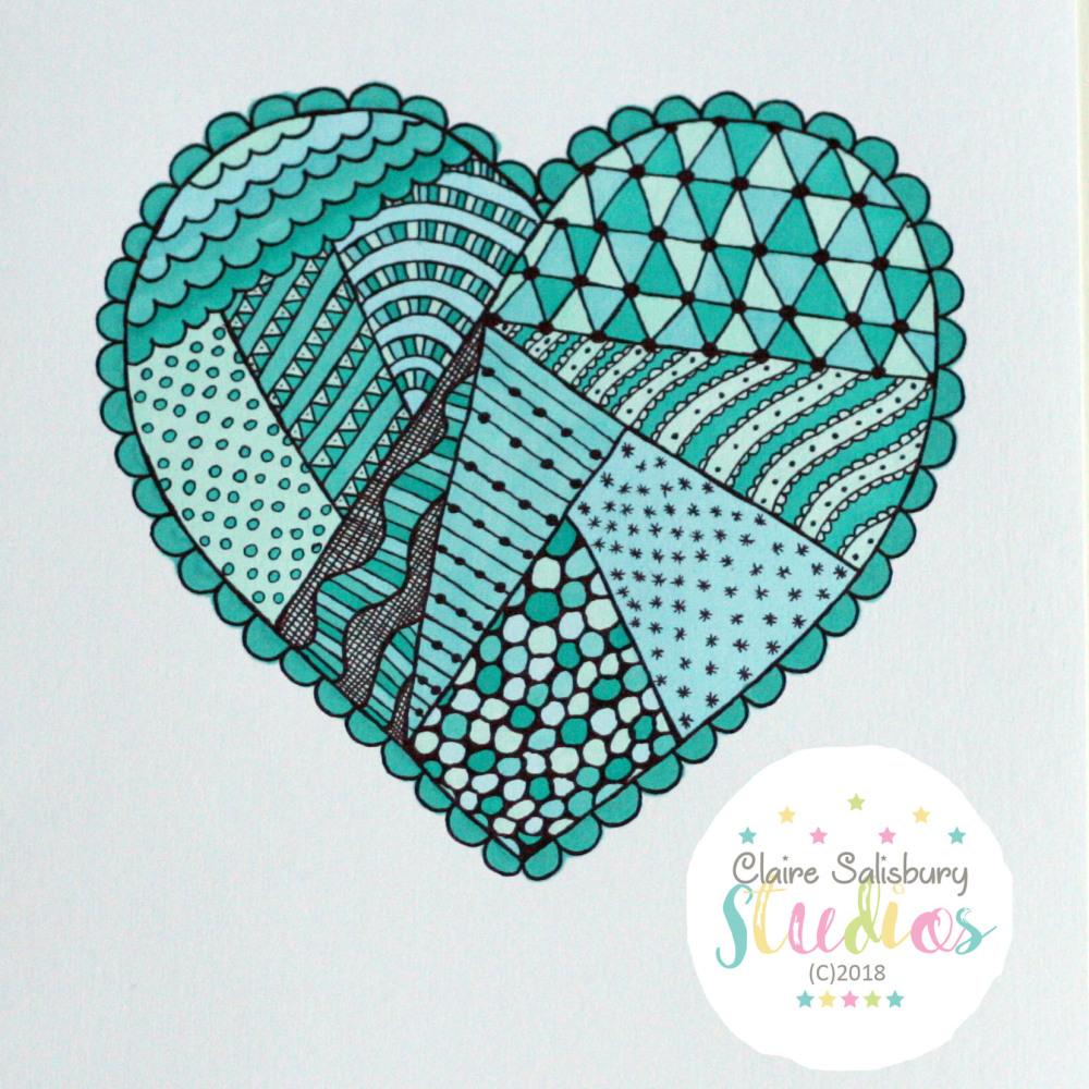 BLUE ZEN DOODLE HEART COLOURING PAGE