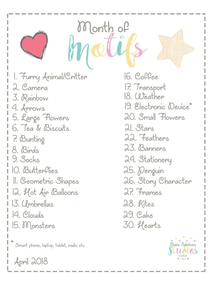 Month of Motifs 30 Day Instagram Challenge Prompt Sheet