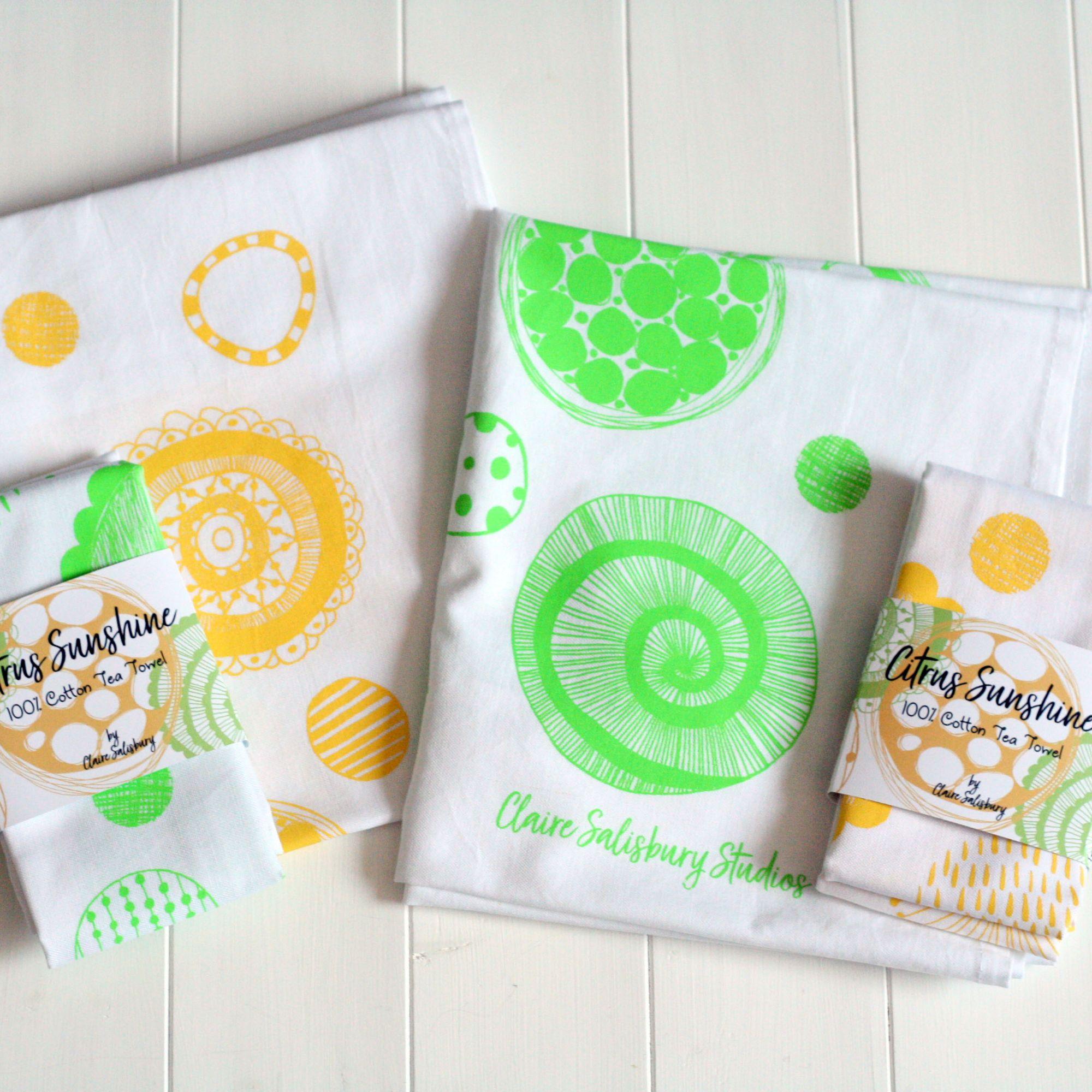100% Cotton Tea Towels - Citrus Sunshine
