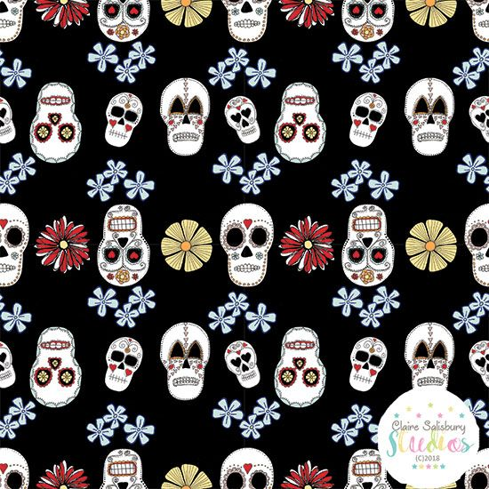 FOLK FIESTA - SKULL ILLUSTRATION - BLACK BACKGROUND