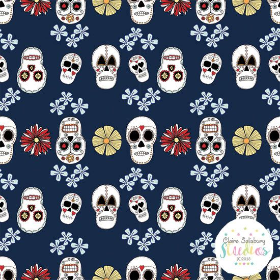 FOLK FIESTA - SKULL ILLUSTRATION - BLUE BACKGROUND