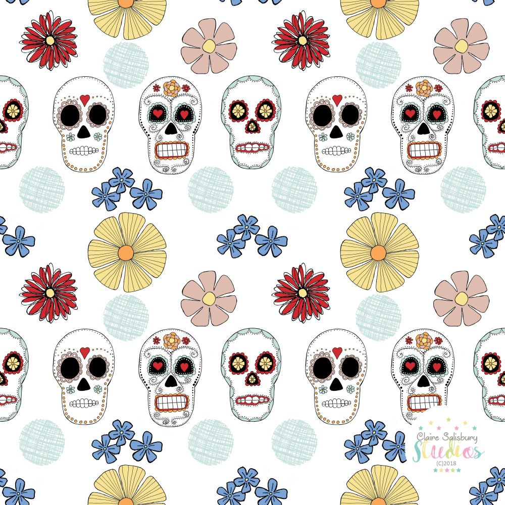 FOLK FIESTA - SKULL ILLUSTRATION PATTERN 2 WHITE BACKGROUND 4000 x4000 WMD