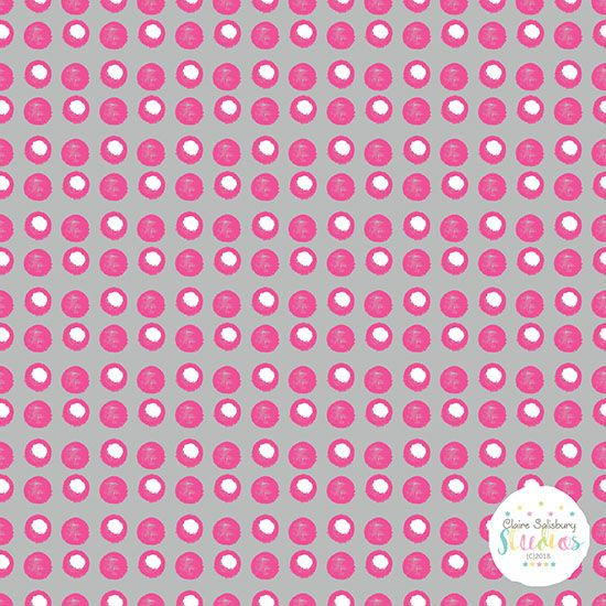 DISCO SPOT HOT PINK & WHITE SPOT ON GREY BACKGROUND - PINK POP - CGAUG18 -