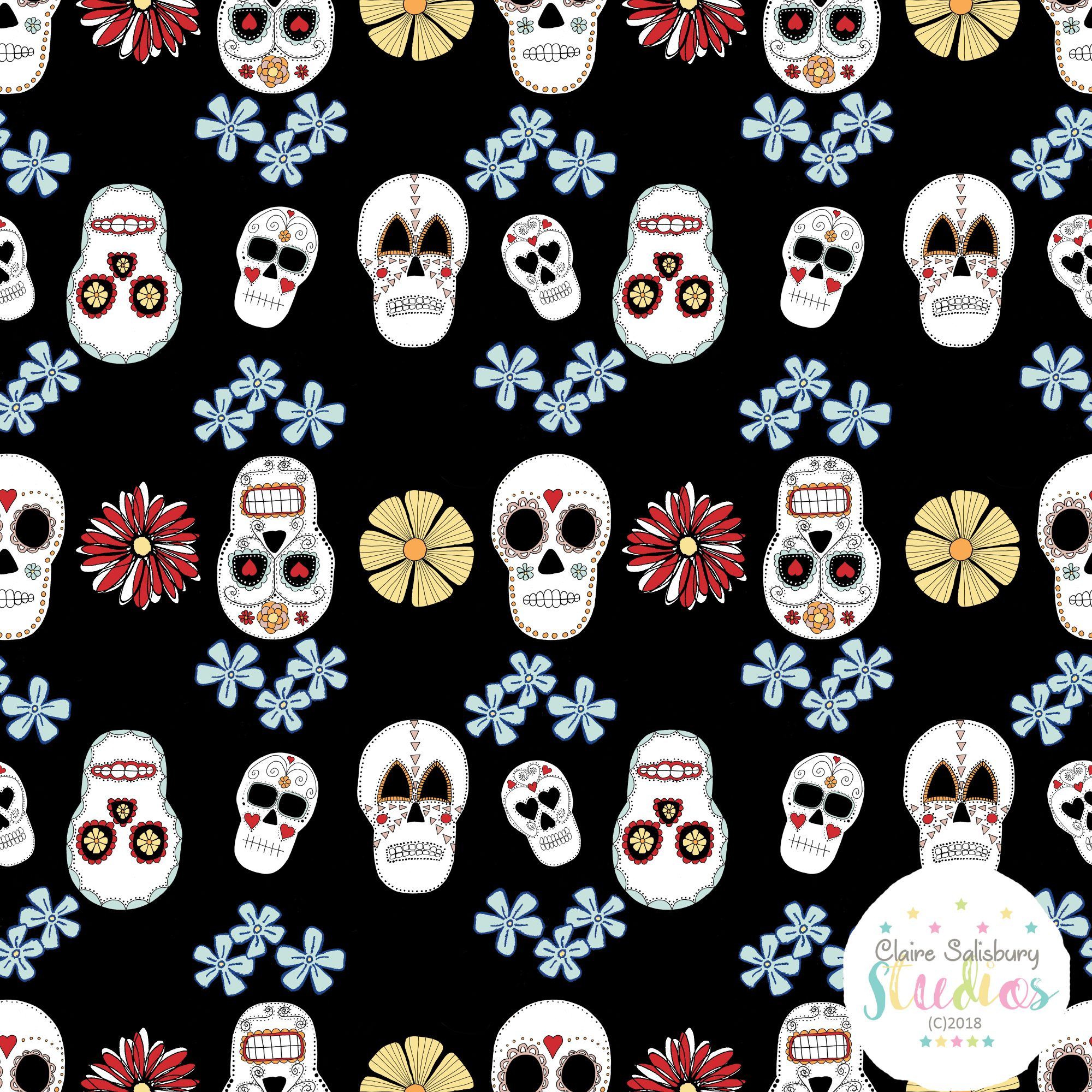 FOLK FIESTA - SKULL ILLUSTRATION - BLACK BACKGROUND 2