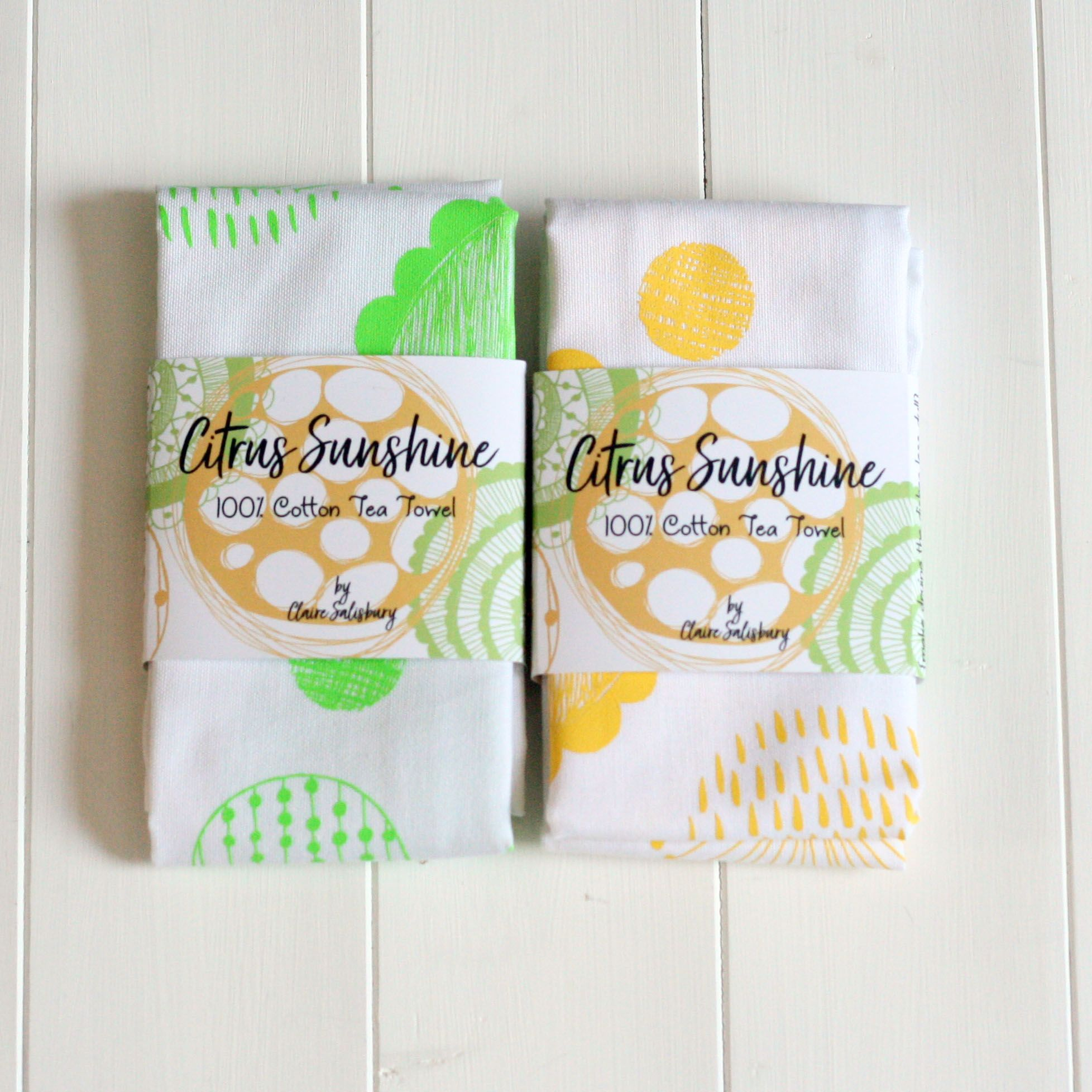 100% COTTON SCREEN PRINTED TEA TOWELS BY CLAIRE SALISBURY STUDIOS