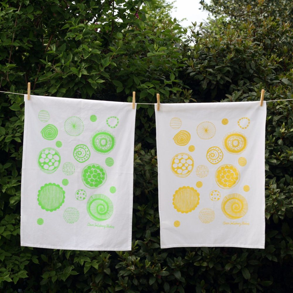 Sunshine Yellow 100% Cotton Screen Printed Tea Towel
