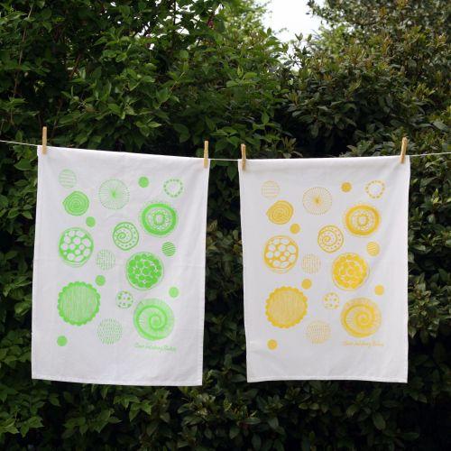 Sunshine Yellow 100% Cotton Screen Printed Tea Towel