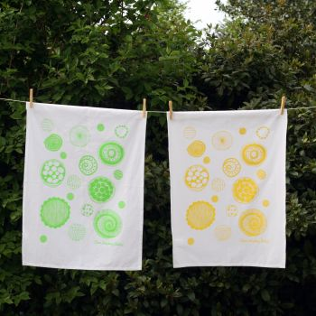 Zesty Lime 100% Cotton Screen Printed Tea Towel