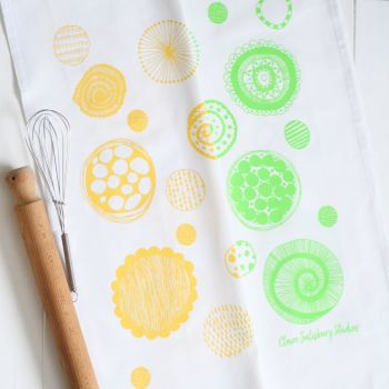 Citrus Sunshine 100% Cotton Screen Printed Tea Towels (Pack of 2)
