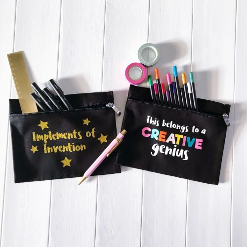 THE CREATOR'S COLLECTION 2 BLACK PENCIL CASES WITH GOLD GLITTER & COLOURFUL WRITING  FILLED WITH COLOURED PENCILS, SCISSORS & WASHI TAPE