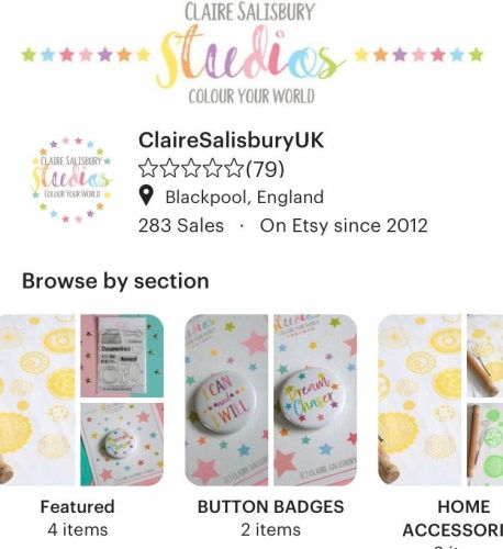 PICTURE OF CLAIRE SALISBURY STUDIOS UK ETSY SHOP