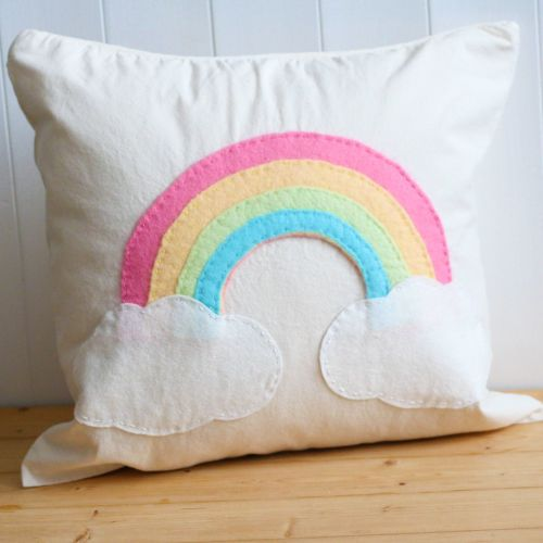 RAINBOW CUSHION COVER SEWING KIT - PHOTO OF FINISHED CUSHION COVER