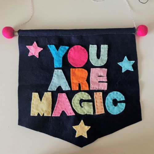NAVY BLUE FELT BANNER WITH WORDS YOU ARE MAGIC IN COLOURFUL FELT