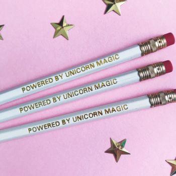 "Pack of 3 ""Unicorn Magic"" White & Gold Foiled Pencils"