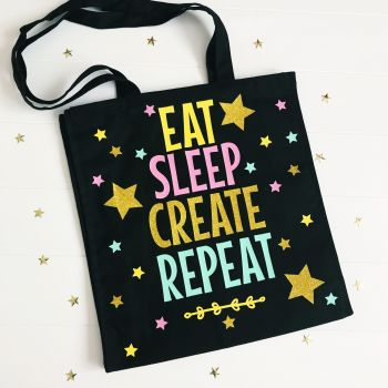 Eat, Sleep, Create, Repeat Canvas Tote Bag