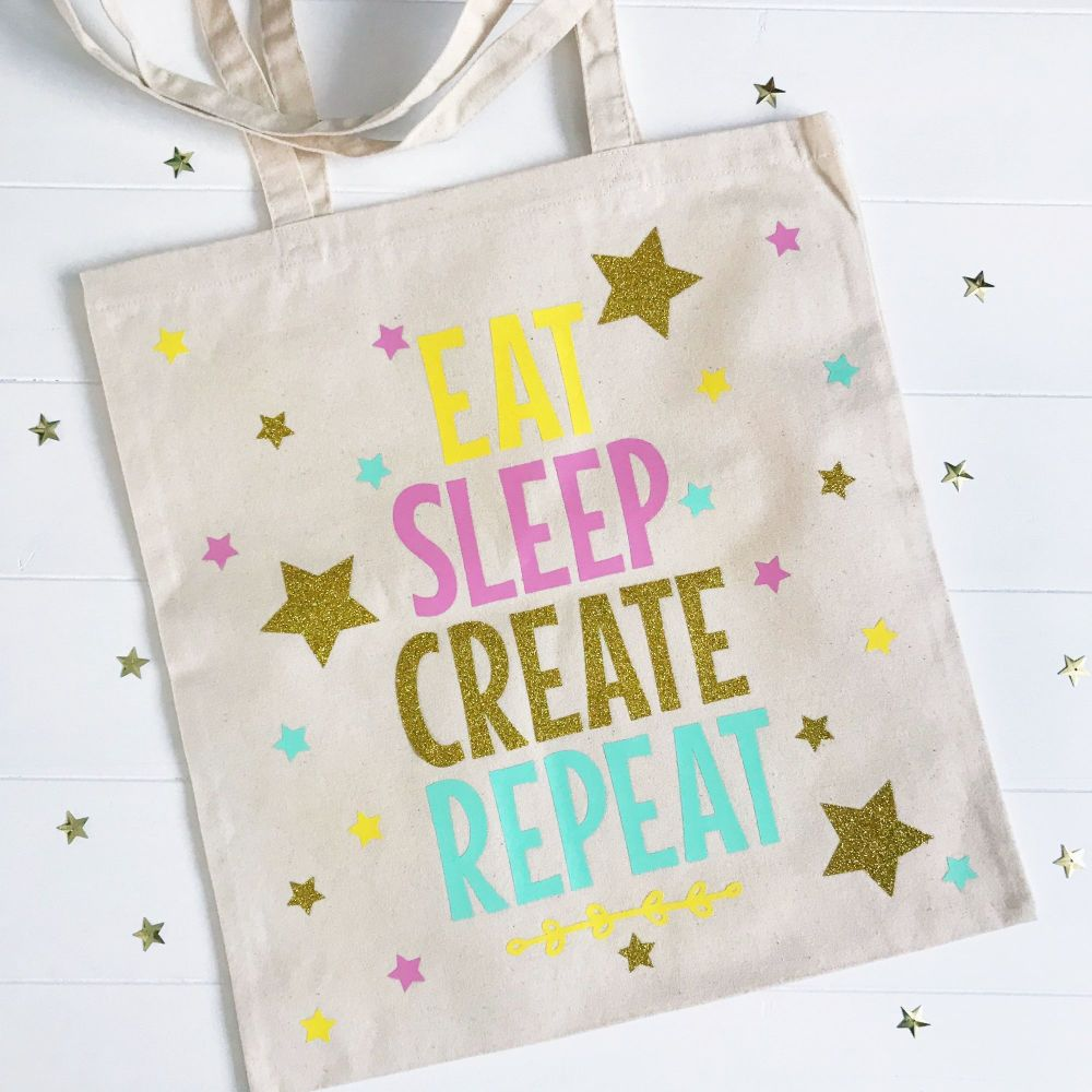 Cream Canvas 100% Cotton Tote Bag - Eat Sleep, Create, Repeat