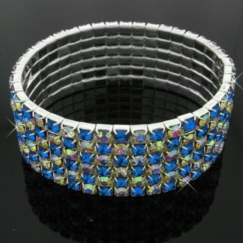 Six-row sparkly stretchy diamante bracelet with blue and AB crystal stones
