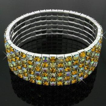 Six-row stretchy diamante bracelet