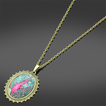 Vintage style colourful PEACOCK pendant on antique gold tone chain