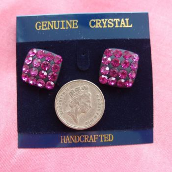 Square 1.75 cm pink purple crystal handcrafted earrings