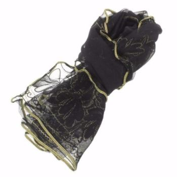 Gossamer fine black evening scarf with gold trim