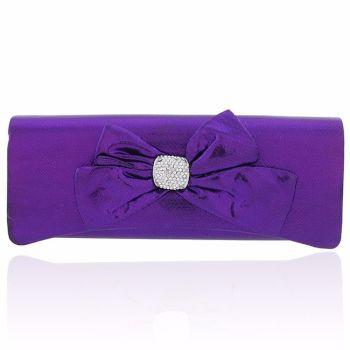 Purple satin evening clutch bag