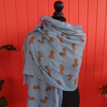 CORGI in CROWN fun 35% cotton scarf - various shades