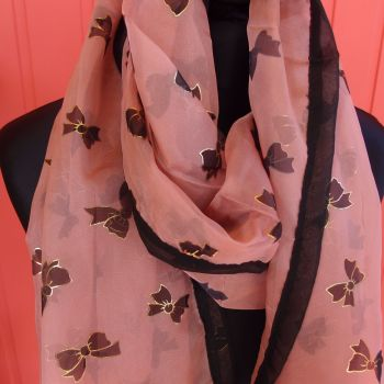 Faux silk scarf/wrap  with bows - blue, pink or brown