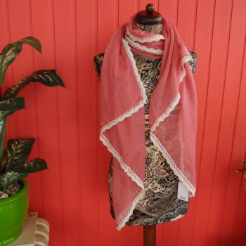 Dainty lace-edged coral scarf