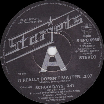 "Starjets - ""It Really Doesn't Matter"" b/w ""Schooldays"""