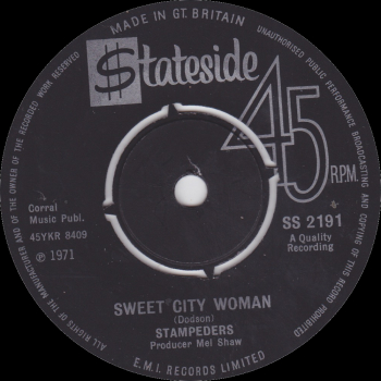 "Stampeders - ""Sweet City Woman"" b/w ""Gator Road"""