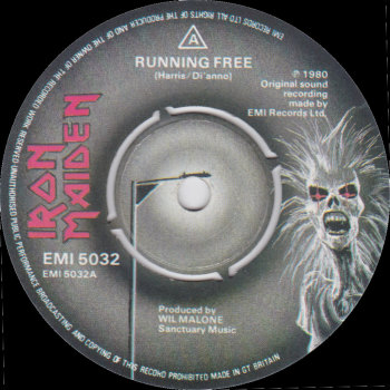 "Iron Maiden - ""Running Free"" b/w ""Burning Ambition"""