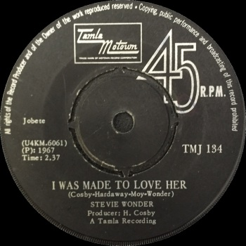 "Stevie Wonder - ""I Was Made To Love Her"" b/w ""Hold Me"""