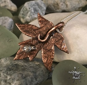 cherry iron leaf with silver ladybird1b