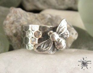 silver bee honeycomb ring1_2_11