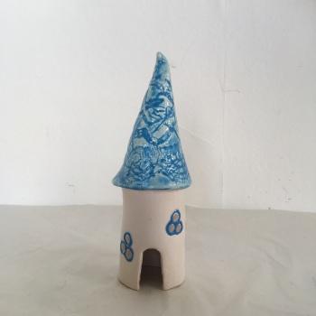 Tall Blue fairy house