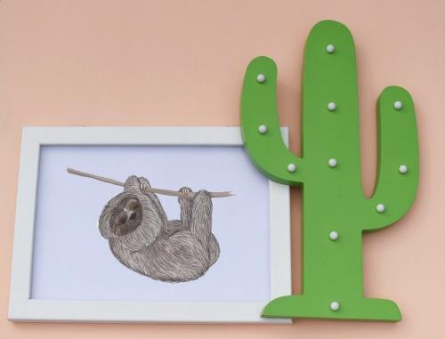 Pygmy Three Toed Sloth A4 Print