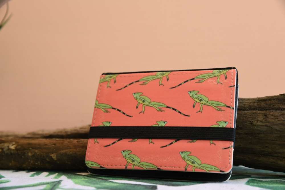 Basilisk Lizard Card Wallet - Coral