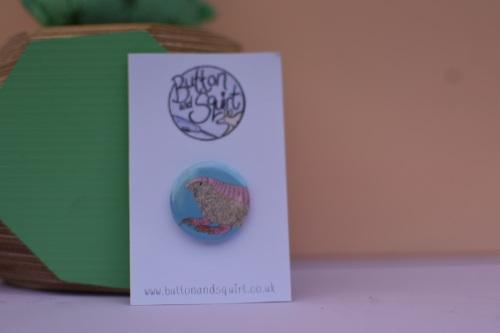 Pink Fairy armadillo 25mm Badge