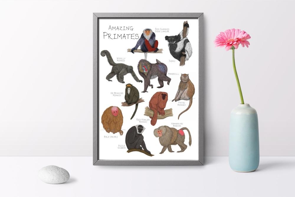 Amazing Primates Art Print