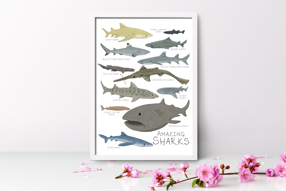 Amazing Sharks Art Print