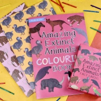 Gift Set - Amazing Extinct Animals, Fact Cards, Colouring Book and Notebooks