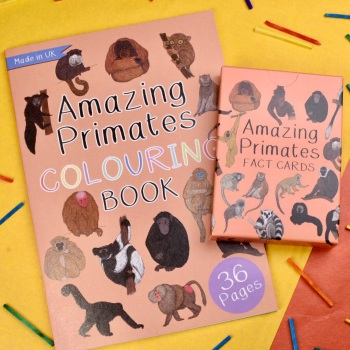 Primates Colouring Book and Fact Cards Gift Set