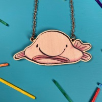 Blob Fish Wooden Necklace