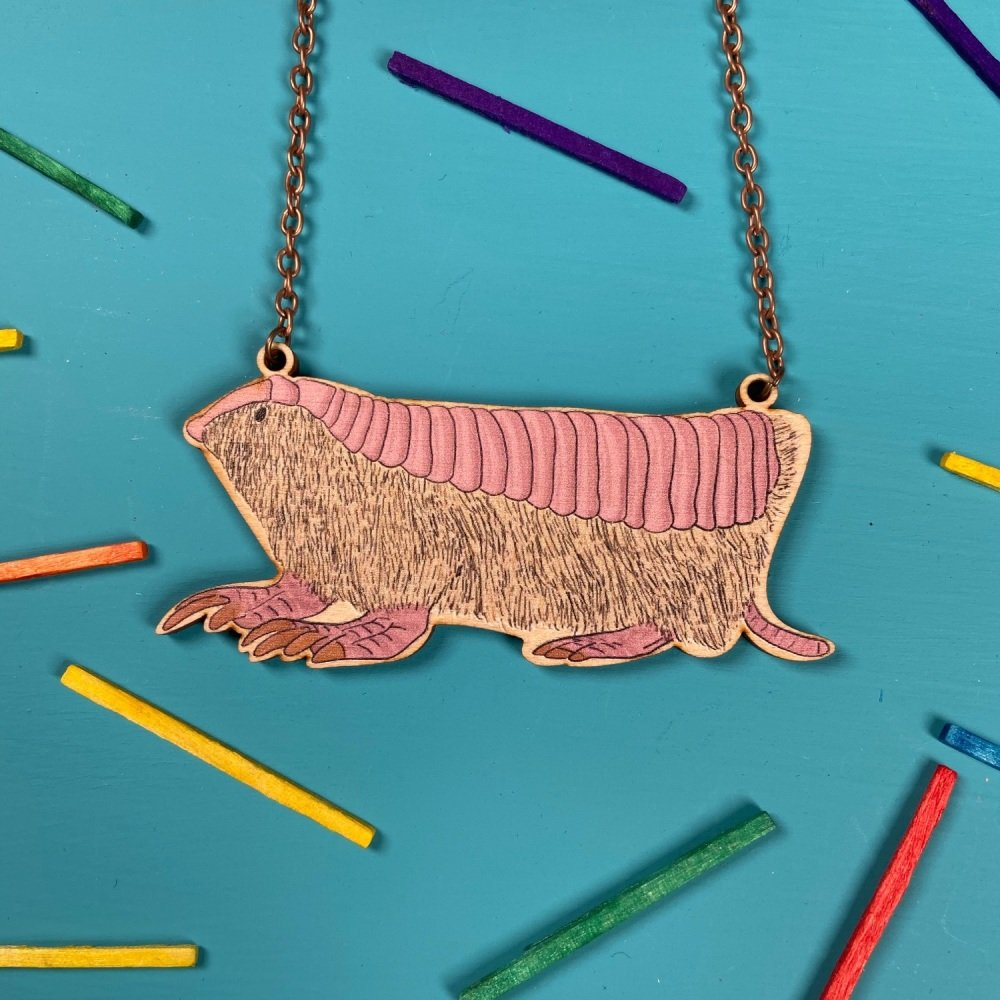 Pink Fairy Armadillo Wooden Necklace