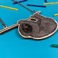 Pygmy sloth  Wooden Necklace