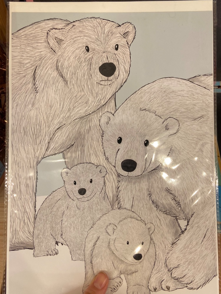 A4 Polar Bear Family Print