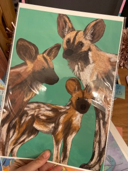 A4 Painted Dog Family Print