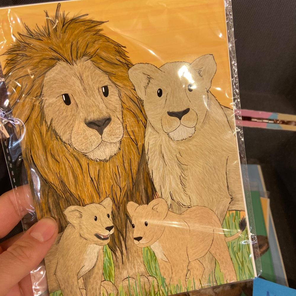 5x7 Lion Family Print